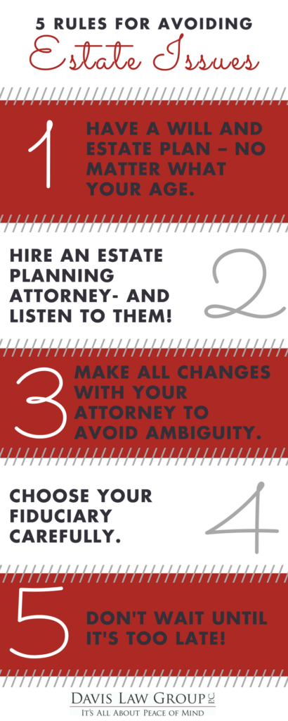 5 rules for avoiding estate issues infographic