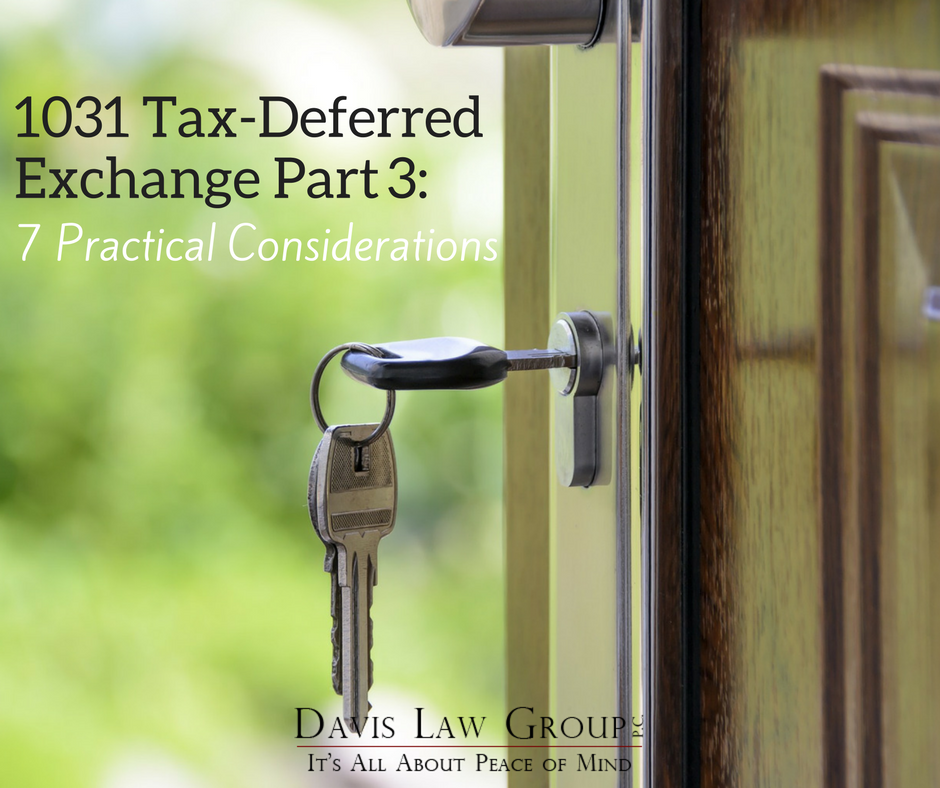 1031 Tax Deferred Exchange- part 3