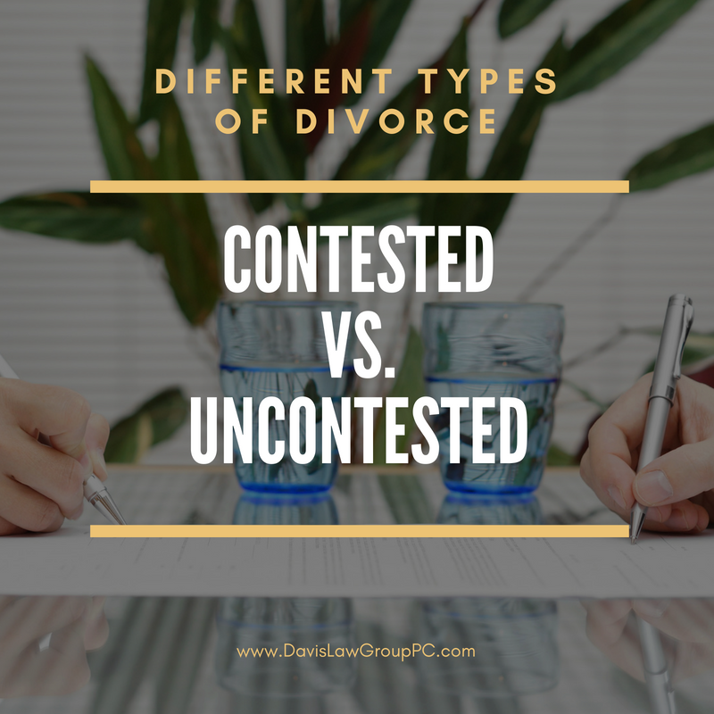 different types of divorce uncontested vs contested